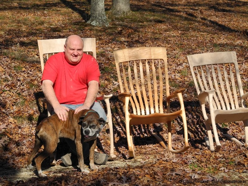 The three sizes of Sculpted Maloof Style Rocking Chairs