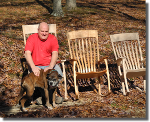 The Three Bear Chairs, Steve Pincsak and Buster, the shop dog